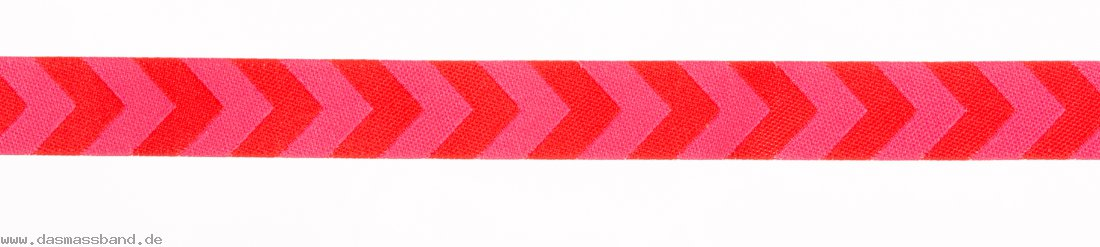 Farbenmix WB266 Webband, Chevron rot-pink, Meterware