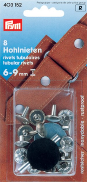 Prym 403152 Hohlnieten 6-9 mm. Messing silberfarbig