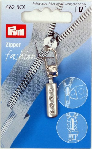 Prym 482301 Fashion-Zipper Strass silberfarbig matt